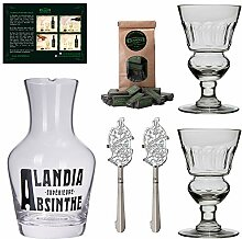 ALANDIA Absinth-Gläser Karaffe Löffel Set |