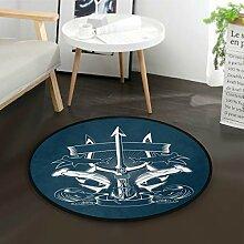 ALARGE Runder Teppich mit abstraktem