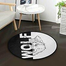 ALARGE Runder Teppich mit abstraktem Wolfszitat,