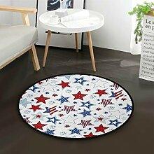 ALARGE Runder Teppich mit amerikanischer Flagge,