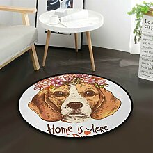 ALARGE Runder Teppich mit Blumen- und Tier-Zitat,