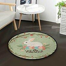 ALARGE Runder Teppich mit Blumenmuster,