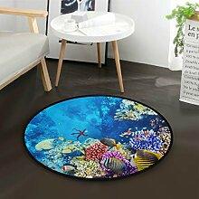 ALARGE Runder Teppich mit buntem Ozean, Meer,
