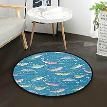 ALARGE Runder Teppich mit buntem Tierwal-Muster,
