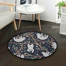 ALARGE Runder Teppich mit floralem Blumen- und