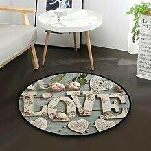ALARGE Runder Teppich mit floralem Zitat von