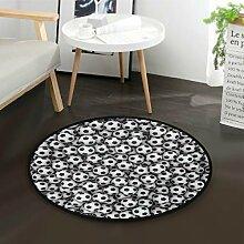ALARGE Runder Teppich mit Fußball-Motiv,