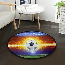 ALARGE Runder Teppich mit Fußball, waschbar,