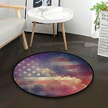ALARGE Runder Teppich mit Galaxie-Flagge und