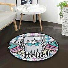 ALARGE Runder Teppich mit geometrischem Tiermotiv,