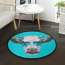 ALARGE Runder Teppich mit Kuh-Palme, waschbar,