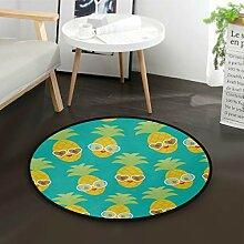 ALARGE Runder Teppich mit lustigen tropischen