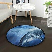ALARGE Runder Teppich mit Meeresmotiv,