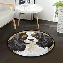 ALARGE Runder Teppich mit niedlichem Hundemuster,