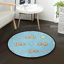 ALARGE Runder Teppich mit niedlichem Tierfaultier,