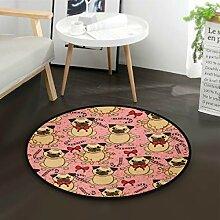 ALARGE Runder Teppich mit niedlichem
