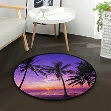 ALARGE Runder Teppich mit Ozean, Strand, Palme,