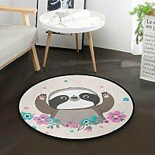 ALARGE Runder Teppich mit süßem Blumen- und
