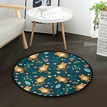 ALARGE Runder Teppich mit süßem Blumenmuster,
