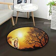 ALARGE Runder Teppich mit Tiermotiven, Löwe,