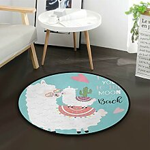 ALARGE Runder Teppich mit tropischem Alpaka-Zitat,