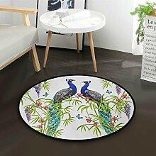 ALARGE Runder Teppich mit tropischem Motiv, Motiv: