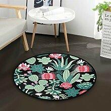 ALARGE Runder Teppich mit tropischen Blumen,