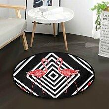 ALARGE Runder Teppich mit tropischen geometrischen