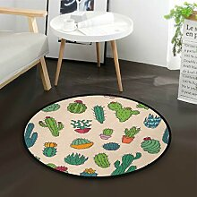 ALARGE Runder Teppich mit tropischen Pflanzen und