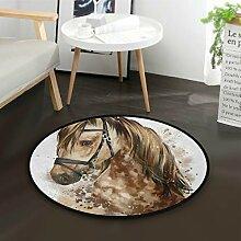 ALARGE Runder Teppich mit Wasserfarben-Motiv,