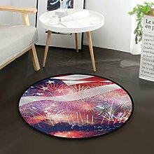 Alarge Teppich, rund, mit USA-Flagge, Feuerwerk,