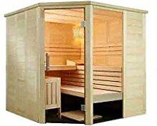 Alaska Sauna Corner Saunakabine Fichtenkabine mit Linden-Einrichtung 206x206x204cm ohne Technik