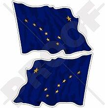 ALASKA Wehende Flagge Fahne USA Vereinigte Staaten von Amerika US 120mm Auto Aufkleber x2 Stickers