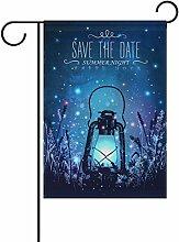 Alaza doppelseitig Vintage Laterne auf Gras mit Magische Glühwürmchen AT NIGHT SKY Polyester Garten Flagge Banner 30,5x 45,7cm für Outdoor Home Garten Blumentopf Decor, Polyester, Multi-Lantern and firefly, 28x40