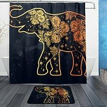 ALAZA Elefant mit Blumen-Stern-Duschvorhang 66 x