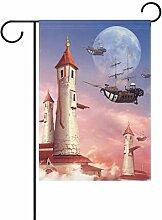 ALAZA Fantasy Flying Schiff Leuchtturm Deko Garten