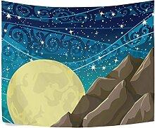 ALAZA Fantasy-gelb, Mond und Sterne, Polyester/,