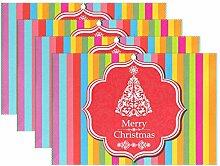 ALAZA Frohe Weihnachten Bunten Streifen-Tischset