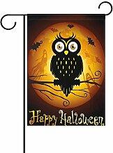 ALAZA Happy Halloween Eule auf Mond Dekorative
