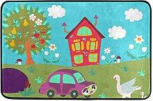 ALAZA Karikatur-Haus-Baum-Blumen-Auto und Ente