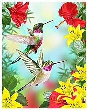 Alaza Kolibris rot Blume Hibiskus und Gelb Lilien