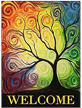 Alaza Rainbow Colorful Baum Blätter Doppelseitig
