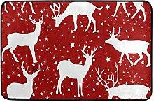 ALAZA Rentiere und Stern-Rot-Fußmatte 15,7 x 23,6