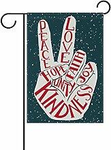 ALAZA Retro Peace Love Joy Polyester Garten Flagge