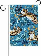 ALAZA Tiger Doodle Dekorative Doppelseitige Garten