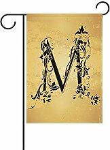 ALAZA Vintage Buchstabe Monogramm M Dekorative