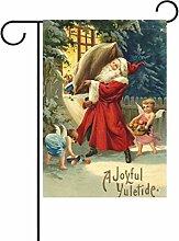 ALAZA Vintage Winter Weihnachts Deko Garten Flagge Polyester für Home Garten Decor