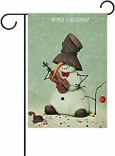 ALAZA Weihnachts-Schneemann Musik Garten Flagge