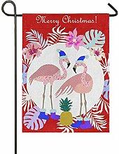ALAZA Weihnachtsfahne mit Flamingo-Jute,