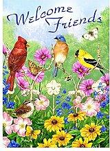 Alaza Welcome Friends Vögel Blumen Schmetterling